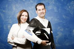Couple in leather motorcycle clothing Royalty Free Stock Images