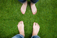 Couple legs standing in front of each other Stock Image
