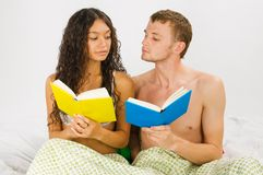 Couple leisure at the bedroom Royalty Free Stock Photography