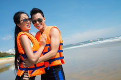Couple in life vests Stock Photos