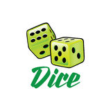A couple of lime green dice rolling in  format illustration Stock Image