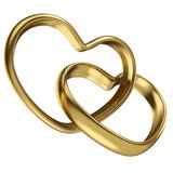 Couple of linked gold wedding rings in shape of heart. Isolated on white background. 3D rendering vector illustration