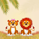 Couple of lions. Illustration of couple of lions Stock Photo