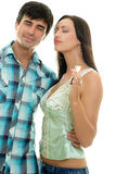 Couple listening music royalty free stock photography