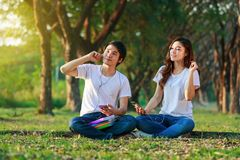 Couple listening music from mobile with headphone in the park. Young couple listening music from mobile with headphone in the park Royalty Free Stock Photo