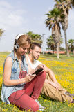 Couple listening to music Stock Photography