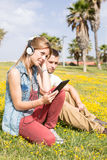Couple listening to music Royalty Free Stock Photo