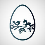 Couple of little birds on the branch of oak inside an Easter egg. Laser cutting template for greeting cards, envelopes, invitations, interior decorative royalty free illustration