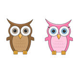 Couple little cute cartoon owls man and woman characters Royalty Free Stock Images