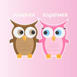Couple little cute cartoon owls vector illustration. Stock Photos