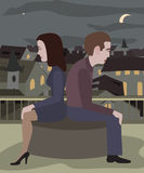 Couple at loggerheads. Man and women sitting on roof at night city landscape in a bad mood Stock Images