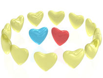 A couple of the lonely heart. With reflection on white isolated background. 3D Render Royalty Free Stock Photos