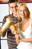 Couple with long loaf Stock Photography