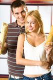 Couple with long loaf Royalty Free Stock Photo