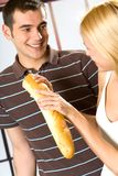 Couple with long loaf Stock Image