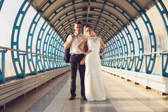 Couple in long tunnel Stock Photos