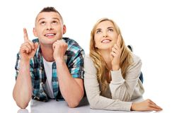 Couple look on empty copy space Stock Images