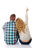 Couple look on empty copy space Royalty Free Stock Image