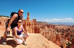 Couple look out on the Bryce Canyon Stock Photo