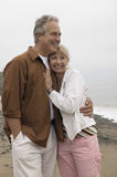 Couple Looking Away While Embracing Each Other On Beach Royalty Free Stock Photography