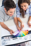 Couple looking at a color chart to decorate their house Stock Photos