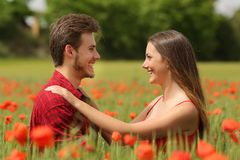Couple looking each other affectionate in a red field Royalty Free Stock Images