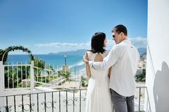 Couple looking at each other in wedding day in Italy Royalty Free Stock Photography