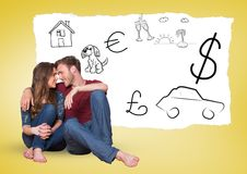 Couple looking face to face with hand drawn graphics in background. Smiling couple looking face to face with hand drawn graphics in background stock photo