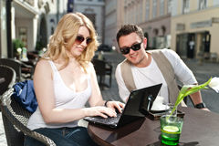 Couple looking at the Laptop Stock Images