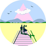Couple looking at the mountain. Vector illustration Stock Photo