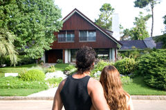 Couple looking for a new house. Young couple looking for a new house royalty free stock images