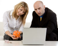 Couple Looking over Finances Royalty Free Stock Images