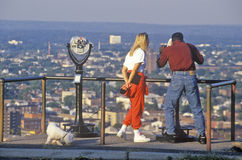 Couple looking over Patterson, NJ Royalty Free Stock Photos