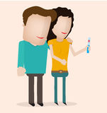 Couple Looking At A Positive Pregnancy Test Royalty Free Stock Photos