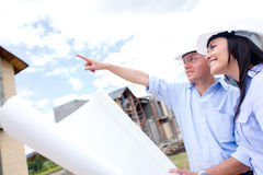 Couple looking at their new house Royalty Free Stock Photo