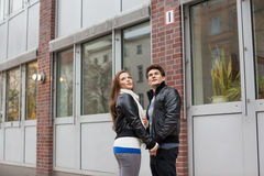 Couple Looking Up By Building Stock Image
