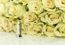 Couple looking for white roses Stock Photo