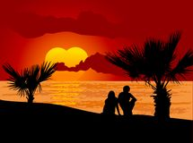 Couple in love. On the sunset beach vector illustration
