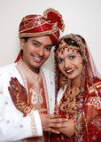 A Couple In Love. A just married Indian couple showing love for each other stock photo
