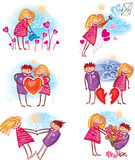 Couple in love. Set ot couple in love royalty free illustration