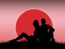 Couple in love. In the sunset stock illustration