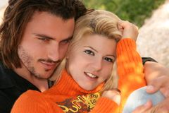 Couple in love. Young blonde couple in love hugging each other Stock Images