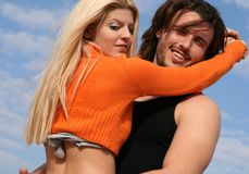 Couple in love. Young blonde couple in love hugging each other Stock Photography