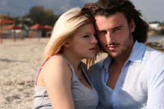 Couple in love. A young couple hanging around at the beach Royalty Free Stock Photos