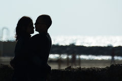 Couple in love. A silhouette of a couple in love Royalty Free Stock Photos