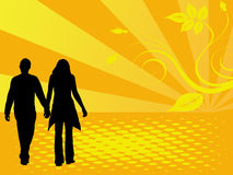 Couple in love. Couple in love on sun background Royalty Free Stock Images