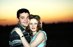 Couple in love. Engagement portrait at the sunset Royalty Free Stock Photography