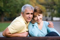 Couple in love. Senior couple in love at the park royalty free stock image