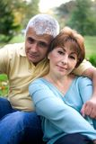 Couple in love. Senior couple in love at the park royalty free stock photos
