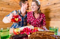 Couple in love on alpine mountain Stock Image
